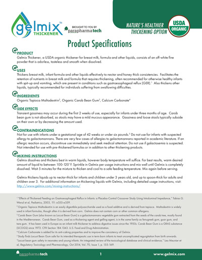 Gelmix Thickener Product Specifications Sheet