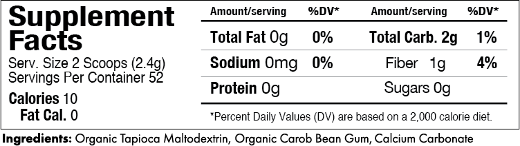 Gelmix Thickener Nutrition Label