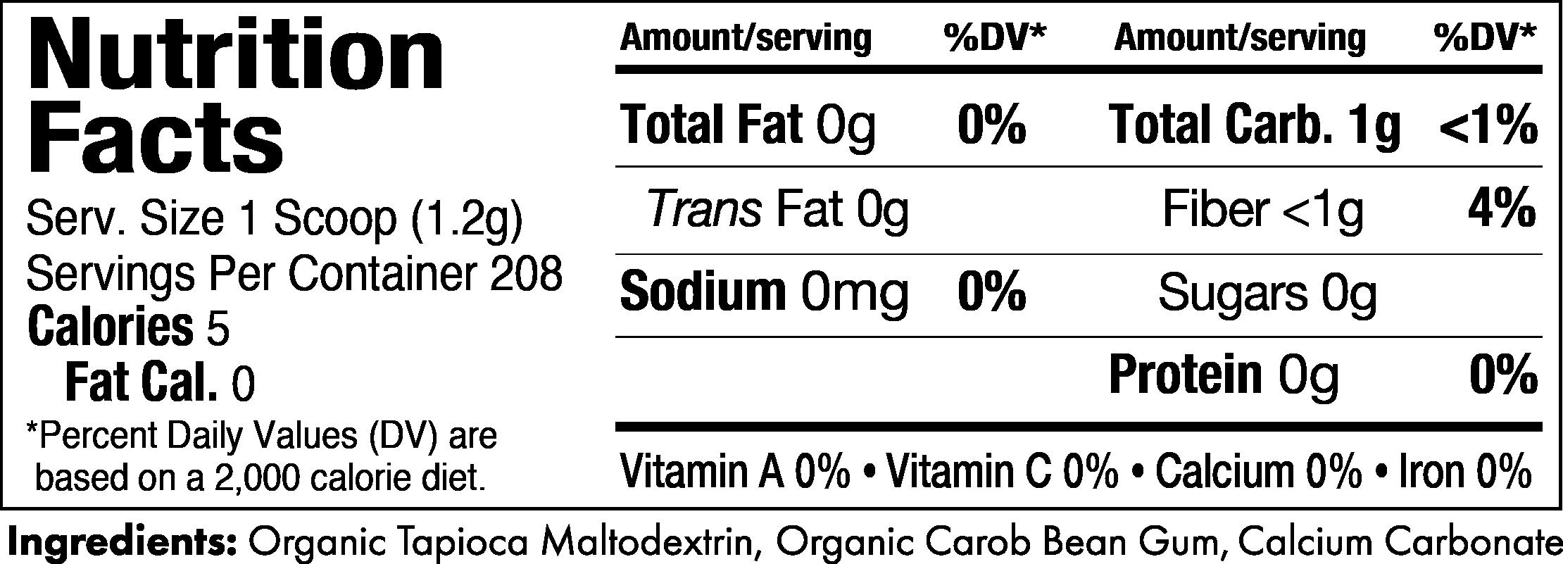 Gelmix Thickener 8.8oz Jar Nutrition Label